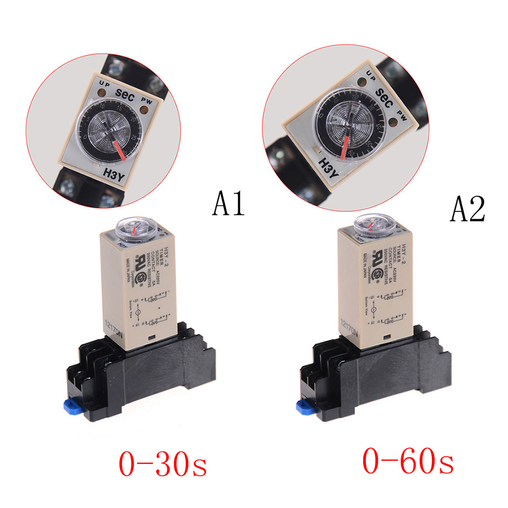 1Set H3Y-2 AC 220V Delay Timer Time Relay 0-30/60 Minute With Base Time Relay With Socket DPDT & Base Socket