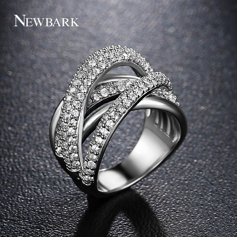 NEWBARK Trendy Layer Full Finger Ring Silver Color Micro Paved AAA Cubic Zirconia Women Cross Ring Wholesale Jewelry anelli