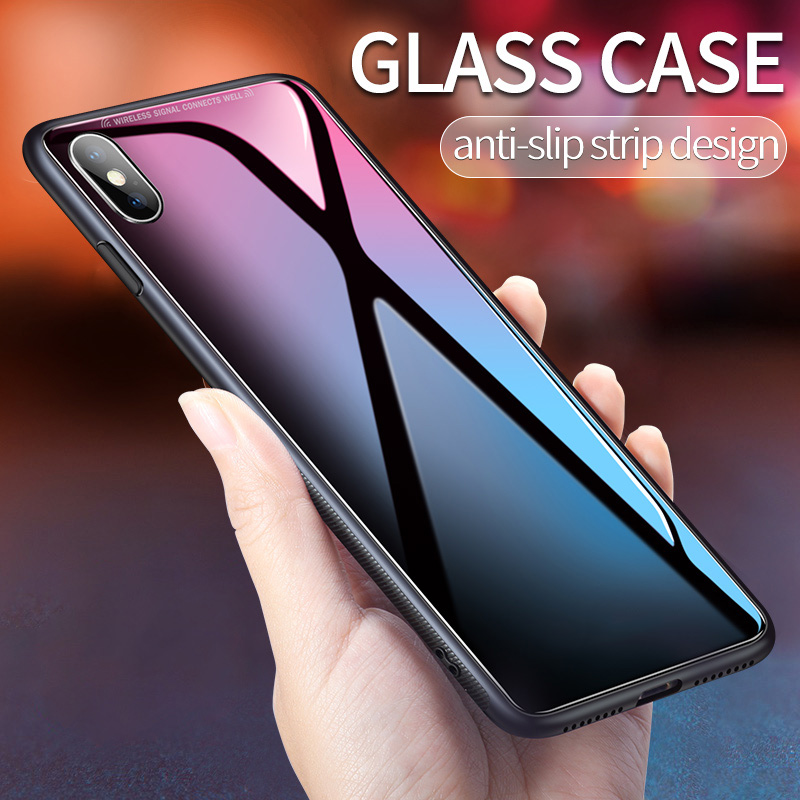 For iPhone XS MAX Glass Case For iPhone XR X Cover Silicone TPU Shock Proof Luxury Slim Tempered Glass Cover For iPhone X XS MAX