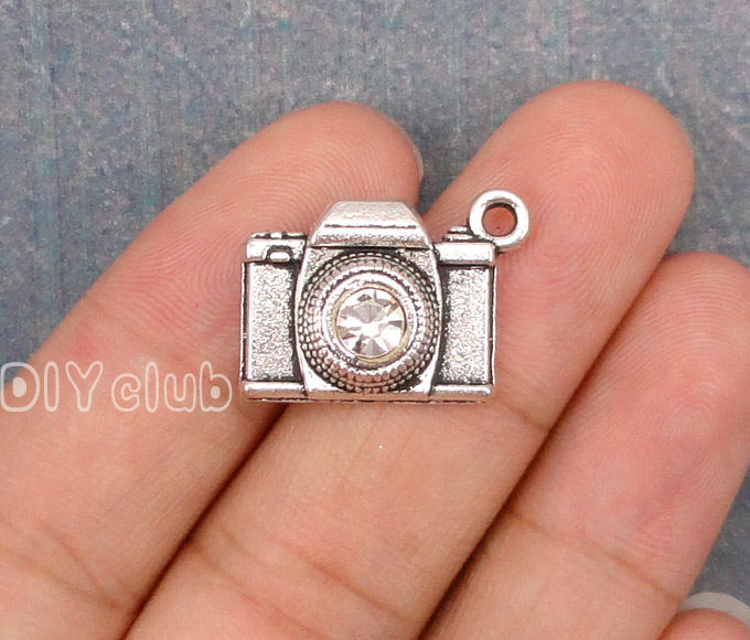 30pcs-Antique Gümüş Rhinestone Lens ile Kamera Charms 21x16mm