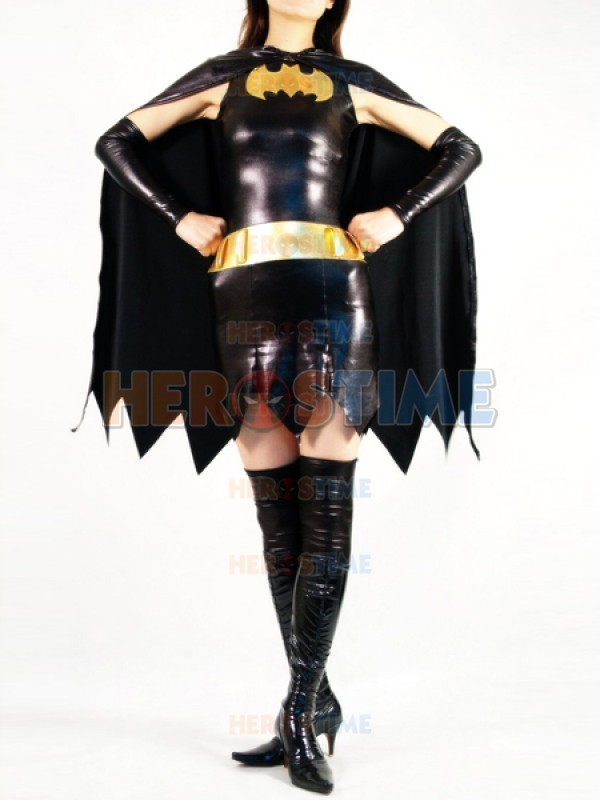 Superheroine batgirl metalik superhero kostüm halloween cosplay zentai dress