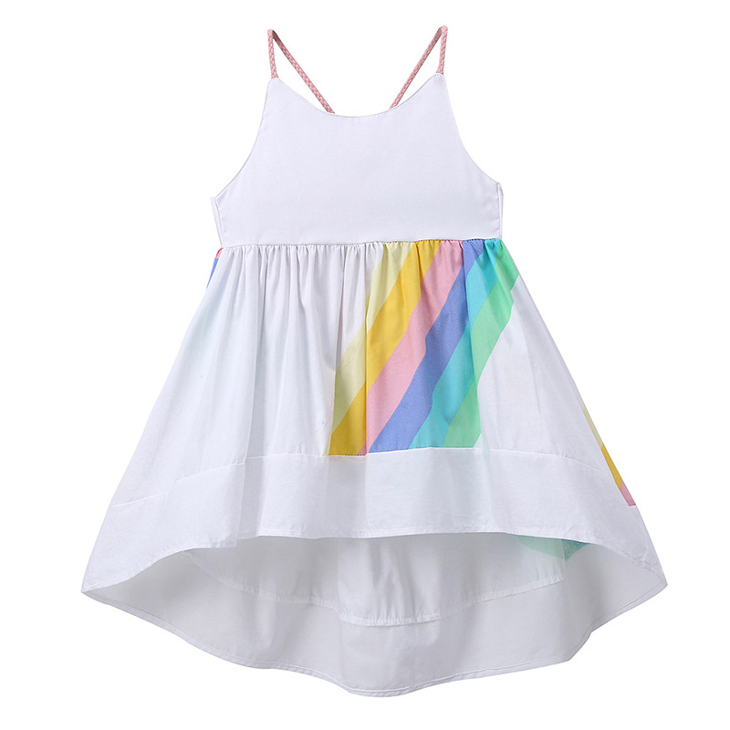 2018 Summer Cute Baby Gilrs Dress Children Holiday Beach Wear Kids Rainbow Slip Dress Girls Sleeveless Dress Cotton