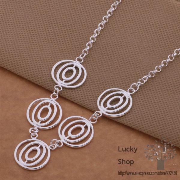 AN524 925 sterling silver Necklace, 925 silver fashion jewelry Five circles / dccaltja